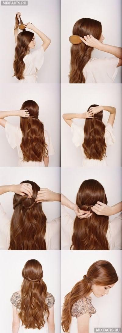 домашняя прическа для девушек для длинных волос