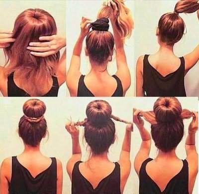Пошаговая инструкция, как сделать объемный пучок на голове самостоятельно.