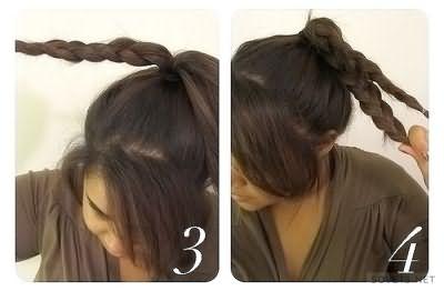 Плетение пучка из косичек - шаг 2