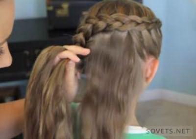 Коса-цветок - схема плетения - шаг 2