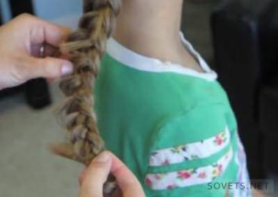 Коса-цветок - схема плетения - шаг 3