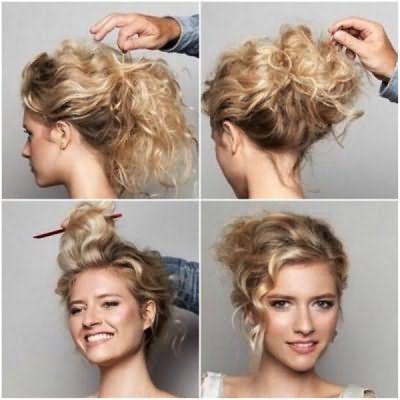 Как делается шишка на голове из волос: последовательность выполнения на кудрявых локонах