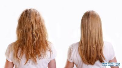 Ухоженные волосы девушки после выпрямления