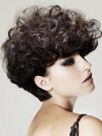 Короткий вариант женской стрижки для кудрявых волос густого типа темно-каштанового оттенка, дополненный удлиненными передними прядками и стильной укладкой