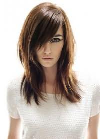 стрижка каскад на средние волосы с челкой 3