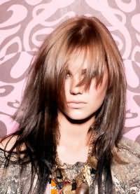 стрижка каскад на средние волосы с челкой 9