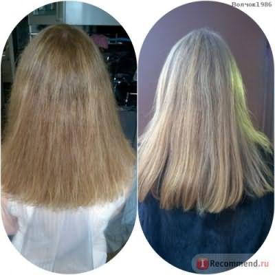 До процедуры и спустя 2 месяца. Волосы высохшие естественным путем.