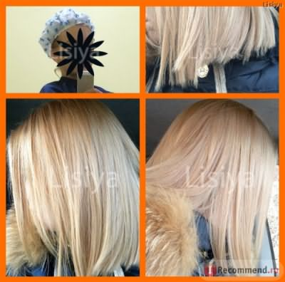 Сверху слева - во время процедуры кератинового восстановления, сверху справа - кончики волос в 1 день ПОСЛЕ кератинового восстановления, внизу - обший вид волос в 1 день ПОСЛЕ кератинового восстановления