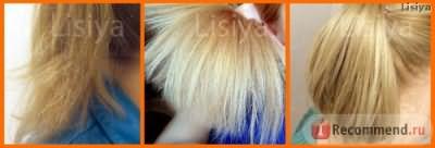 Слева кончики волос ДО кератинового восстановления, посередине и справа - через 1 месяц ПОСЛЕ кератинового восстановления