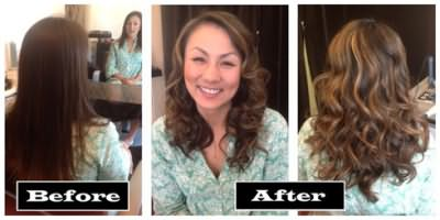 На фото изображена шевелюра до и после продольного окрашивания.