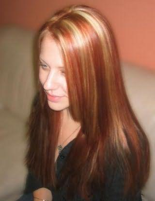 Белое мелирование на рыжих волосах
