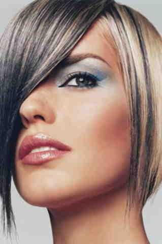 Колорирование темными оттенками коротких светлых волос