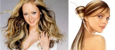 Продольное колорирование на волосах цвета блонд