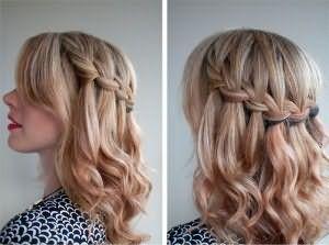 Коса-водопад на средние волосы