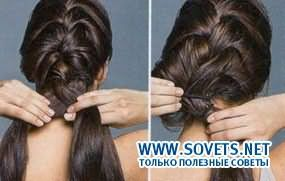 Девушка плетет французскую косу