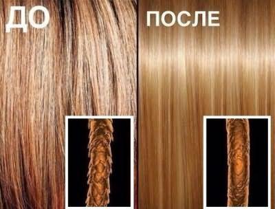 Бразильское кератиновое выпрямление волос (результат под микроскопом)