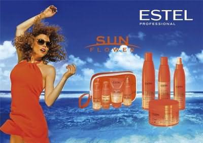 На фото линия для ухода за волосами с UV фильтрами от Estel Professional