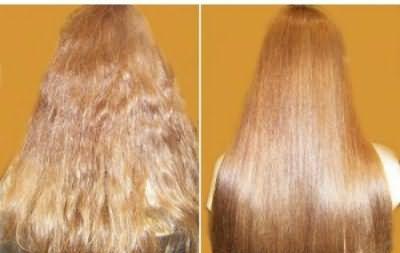 Фото до и после ламинирования желатином