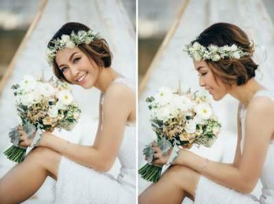 свадебные прически на короткие волосы с челкой