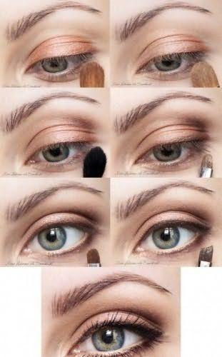 Поэтапная техника нанесения дневного макияжа для серых глаз.