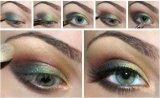 Технология нанесения макияжа для серо-зеленых глаз.