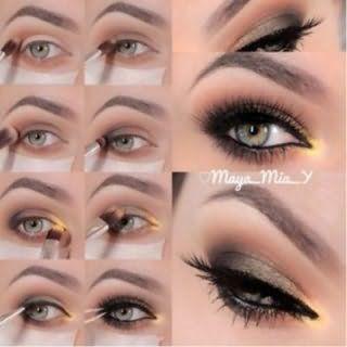 Пошаговая технология выполнения вечернего макияжа серых глаз.