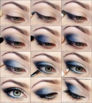 Поэтапное нанесение вечернего макияжа для серых глаз.