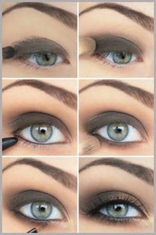 Техника нанесения вечернего макияжа для глаз серого цвета.