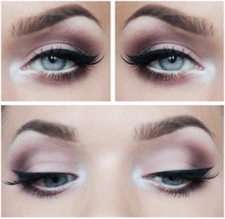 Вариант макияжа серых глаз.