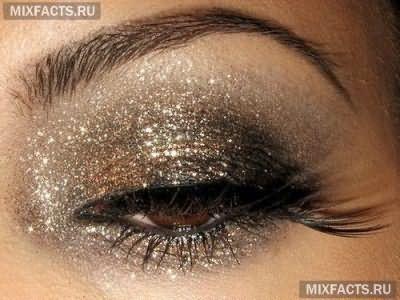 макияж для темных глаз блестящими тенями