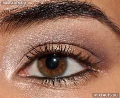 макияж для темных глаз персиковыми тенями