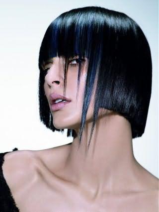 Мелирование челки на темные волосы