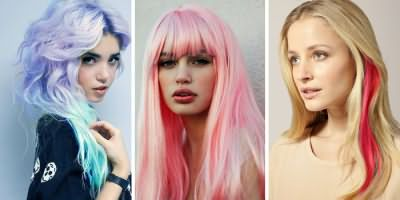 Светлые волосы, окрашенные мелками