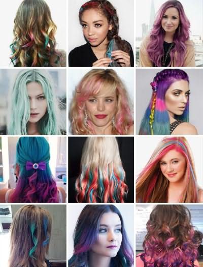 Фото волос, окрашенных цветными мелками