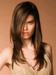Идея стрижки лесенка с удлиненной косой челкой для прямоугольной формы лица и тонких волос средней длины, окрашенных в темно-русый цвет