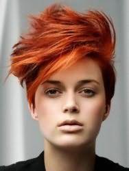 Эффектная креативная стрижка для коротких волос ярко-рыжего оттенка