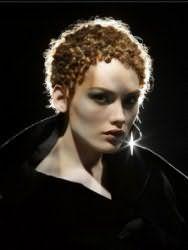 Стильная идея стрижки для кудрявых коротких волос в виде мелких завитков в африканском стиле для локонов светло-русого тона
