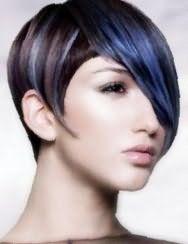 Девушкам со светлым типом кожи и темными глазами подойдет колорирование синего цвета на темно- каштановых волосах в короткой стрижке с удлиненной челкой