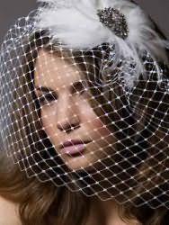 Весьма роскошный образ поможет создать прическа с распущенными волосами. Пряди средней длины обрабатываются укладочным средством для придания объема и подвергаются выпрямлению. Концы можно слегка завить. Главный акцент прически заключается в элегантной вуалетке, которая крепится сбоку.
