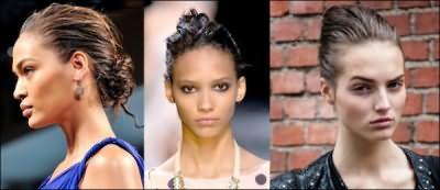 «Мокрую» прическу не обязательно делать волнистой, собранные в пучок волосы выглядят не менее привлекательно.
