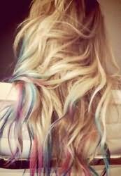 Окрашивание кончиков волос пастелью