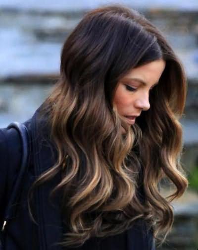 омбре на длинные волосы с челкой
