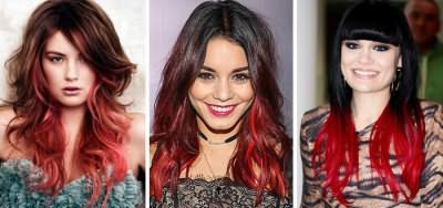 Красный градиентный переход на темных волосах