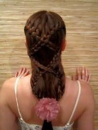 Вечерняя прическа с плетением на длинные волосы.