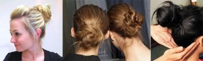 Коса - Стильный небрежный пучок для волос средней длины