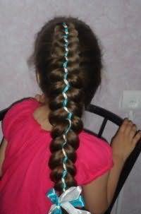 Прическа коса с лентами