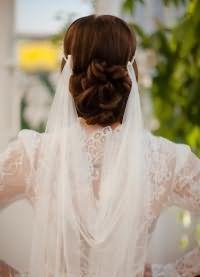 свадебные прически на длинные волосы с фатой6