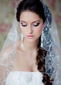 свадебные прически на длинные волосы с фатой7