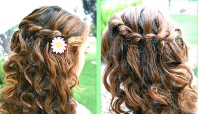 Коса-водопад из вьющихся волос.
