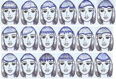 Оригинальный дизайн короткой челки для разных типов лица